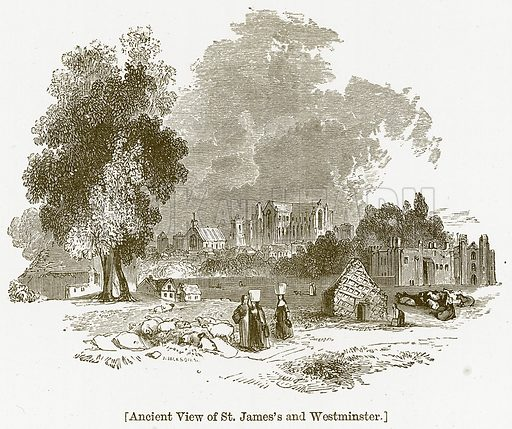Ancient View of St. James's and Westminster. Illustration for William Shakespeare A Biography by Charles Knight (Virtue, c 1880).