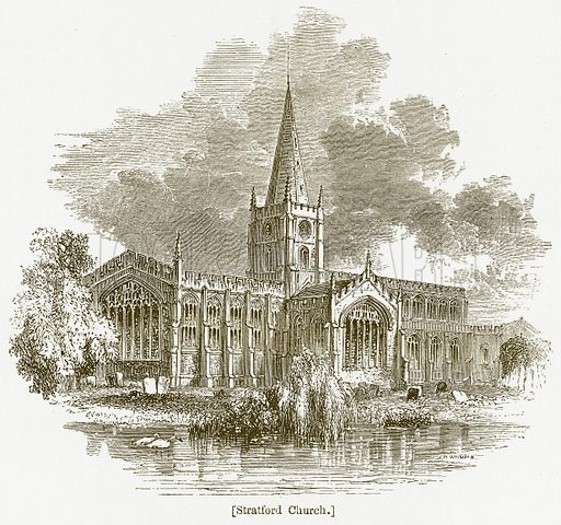 Stratford Church. Illustration for William Shakespeare A Biography by Charles Knight (Virtue, c 1880).
