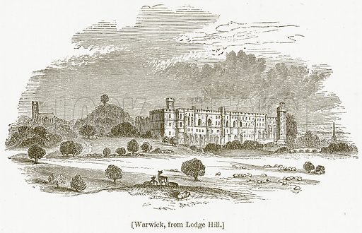 Warwick, from Lodge Hill. Illustration for William Shakespeare A Biography by Charles Knight (Virtue, c 1880).