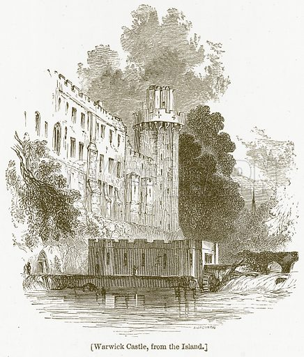 Warwick Castle, from the Island. Illustration for William Shakespeare A Biography by Charles Knight (Virtue, c 1880).