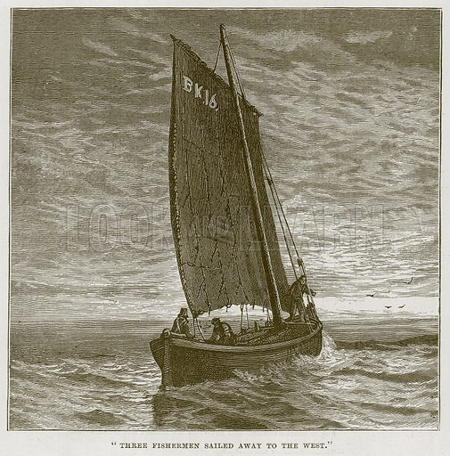 """Three Fishermen Sailed Away to the West."" Illustration for The Sea by F Whymper (Cassell, c 1890)."