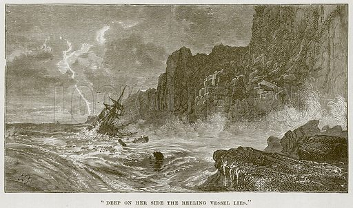 """""""Deep on her Side the Reeling Vessel Lies."""" Illustration for The Sea by F Whymper (Cassell, c 1890)."""