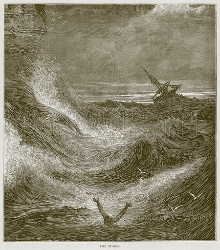 The Storm. Illustration for The Sea by F Whymper (Cassell, c 1890).