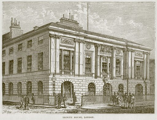 Trinity House, London. Illustration for The Sea by F Whymper (Cassell, c 1890).