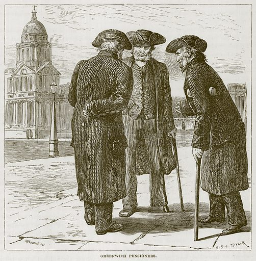 Greenwich Pensioners. Illustration for The Sea by F Whymper (Cassell, c 1890).