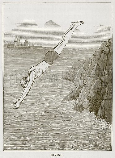 Diving. Illustration for The Sea by F Whymper (Cassell, c 1890).
