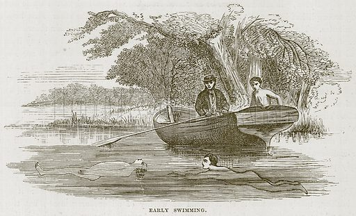 Early Swimming. Illustration for The Sea by F Whymper (Cassell, c 1890).