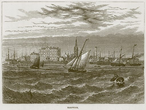 Harwich. Illustration for The Sea by F Whymper (Cassell, c 1890).