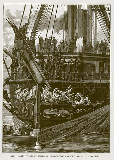 """The """"Konig Wilhelm"""" Entering Portsmouth Harbour after the Collision. Illustration for The Sea by F Whymper (Cassell, c 1890)."""