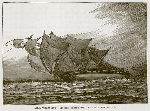 "H.M.S. ""Eurydice"" on her Beam-Ends just after the Squall. Illustration for The Sea by F Whymper (Cassell, c 1890)."