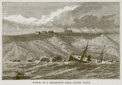 Wreck of a Steam-Ship near Lizard Point. Illustration for The Sea by F Whymper (Cassell, c 1890).