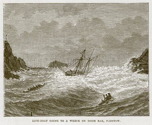 Life-Boat going to a Wreck on Doom Bar, Padstow. Illustration for The Sea by F Whymper (Cassell, c 1890).