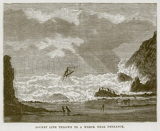 Rocket Line Thrown to a Wreck near Penzance. Illustration for The Sea by F Whymper (Cassell, c 1890).