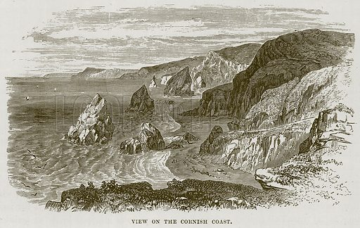 View on the Cornish Coast. Illustration for The Sea by F Whymper (Cassell, c 1890).