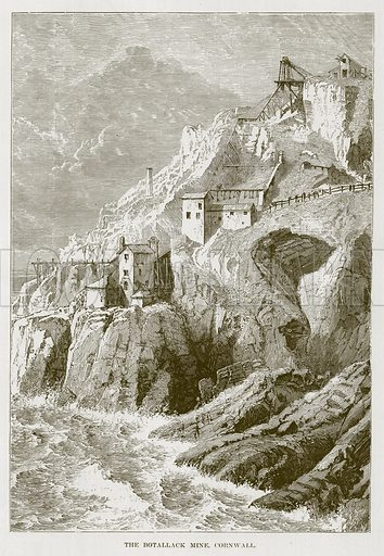 The Botallack Mine, Cornwall. Illustration for The Sea by F Whymper (Cassell, c 1890).