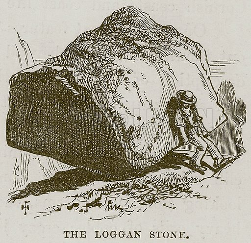 The Loggan Stone. Illustration for The Sea by F Whymper (Cassell, c 1890).