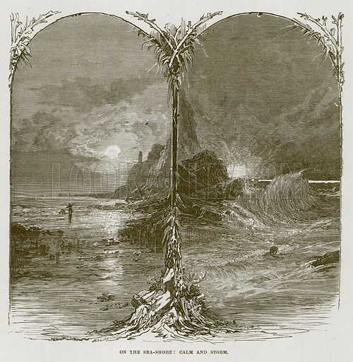 On the Sea-Shore: Calm and Storm. Illustration for The Sea by F Whymper (Cassell, c 1890).