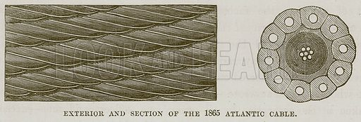 Exterior and Section of the 1865 Atlantic Cable. Illustration for The Sea by F Whymper (Cassell, c 1890).