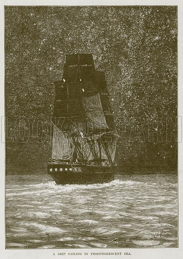 A Ship Sailing in Phosphorescent Sea. Illustration for The Sea by F Whymper (Cassell, c 1890).