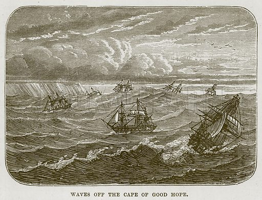Waves off the Cape of Good Hope. Illustration for The Sea by F Whymper (Cassell, c 1890).