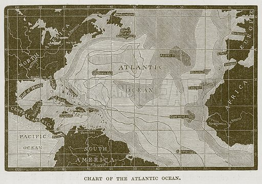 Chart of the Atlantic Ocean. Illustration for The Sea by F Whymper (Cassell, c 1890).