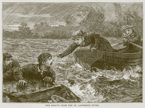 The Rescue from the St. Lawrence River. Illustration for The Sea by F Whymper (Cassell, c 1890).