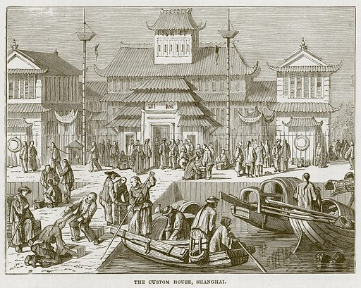 The Custom House, Shanghai. Illustration for The Sea by F Whymper (Cassell, c 1890).