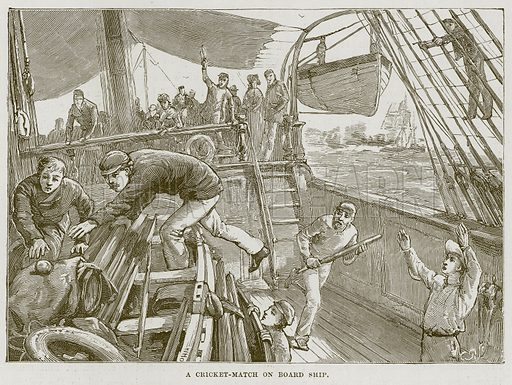 A Cricket-Match on Board Ship. Illustration for The Sea by F Whymper (Cassell, c 1890).