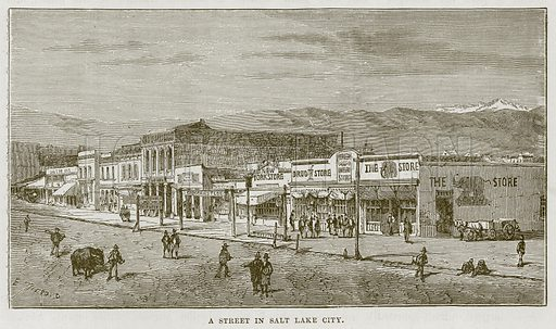 A Street in Salt Lake City. Illustration for The Sea by F Whymper (Cassell, c 1890).