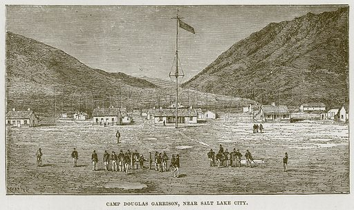 Camp Douglas Garrison, near Salt Lake City. Illustration for The Sea by F Whymper (Cassell, c 1890).