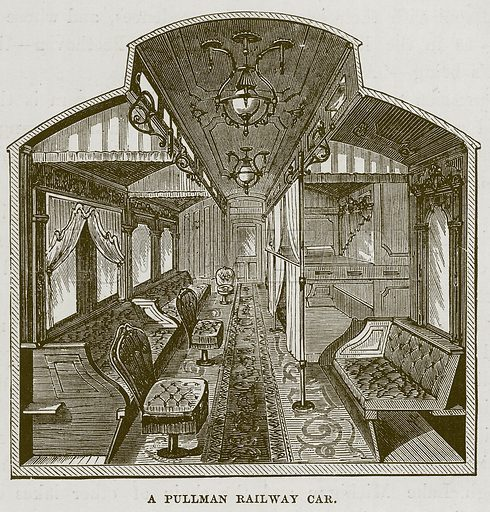 A Pullman Railway Car. Illustration for The Sea by F Whymper (Cassell, c 1890).