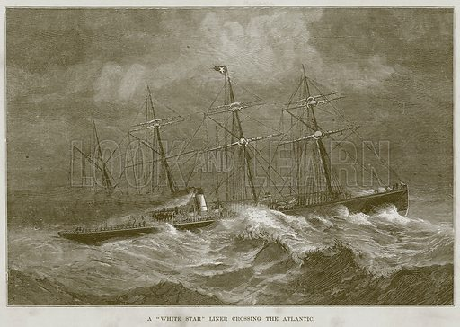 """A """"White Star"""" Liner Crossing the Atlantic. Illustration for The Sea by F Whymper (Cassell, c 1890)."""