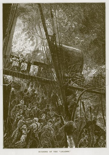 "Burning of the ""Amazon."" Illustration for The Sea by F Whymper (Cassell, c 1890)."