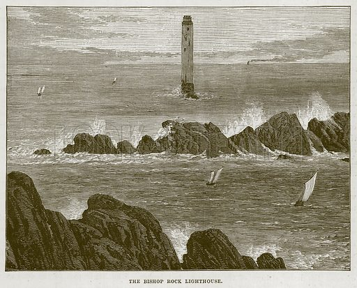 The Bishop Rock Lighthouse. Illustration for The Sea by F Whymper (Cassell, c 1890).