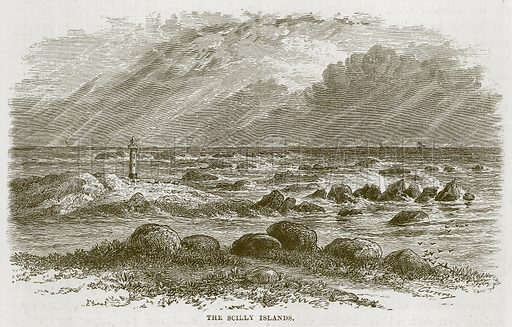 The Scilly Islands. Illustration for The Sea by F Whymper (Cassell, c 1890).
