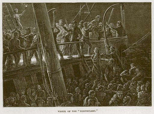 """Wreck of the """"Northfleet."""" Illustration for The Sea by F Whymper (Cassell, c 1890)."""