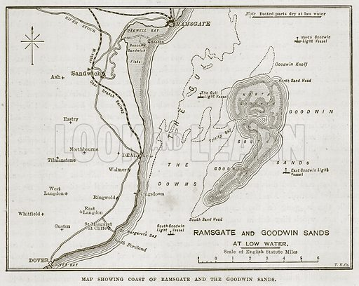 Map showing Coast of Ramsgate and the Goodwin Sands. Illustration for The Sea by F Whymper (Cassell, c 1890).