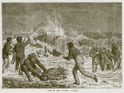 """Loss of the """"Albion"""" Lugger. Illustration for The Sea by F Whymper (Cassell, c 1890)."""