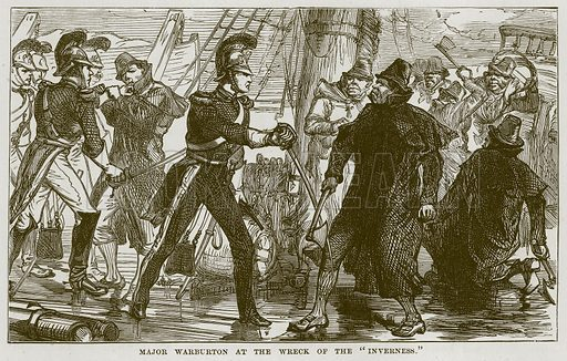 """Major Warburton at the Wreck of the """"Inverness."""" Illustration for The Sea by F Whymper (Cassell, c 1890)."""