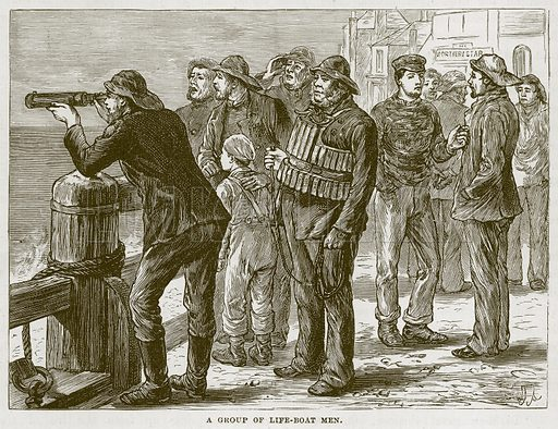 A Group of Life-Boat Men. Illustration for The Sea by F Whymper (Cassell, c 1890).