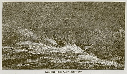"Ramsgate--The ""Aid"" going out. Illustration for The Sea by F Whymper (Cassell, c 1890)."