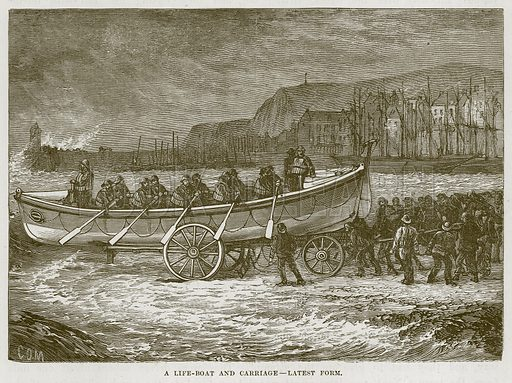 A Life-Boat and Carriage--Latest Form. Illustration for The Sea by F Whymper (Cassell, c 1890).