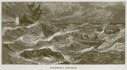 Greathead's Life-Boat. Illustration for The Sea by F Whymper (Cassell, c 1890).