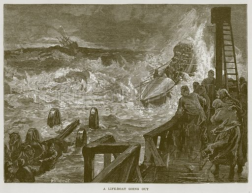 A Life-Boat going out. Illustration for The Sea by F Whymper (Cassell, c 1890).