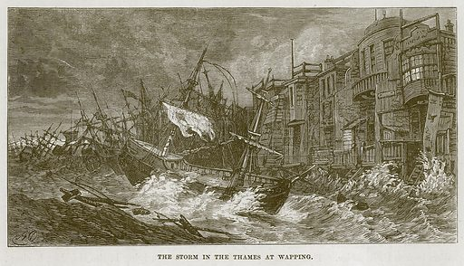The Storm in the Thames at Wapping. Illustration for The Sea by F Whymper (Cassell, c 1890).