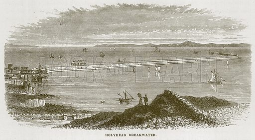 Holyhead Breakwater. Illustration for The Sea by F Whymper (Cassell, c 1890).