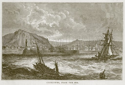 Cherbourg, from the Sea. Illustration for The Sea by F Whymper (Cassell, c 1890).