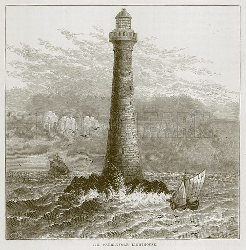 The Skerryvore Lighthouse. Illustration for The Sea by F Whymper (Cassell, c 1890).