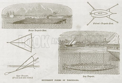 Different Forms of Torpedoes. Illustration for The Sea by F Whymper (Cassell, c 1890).