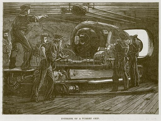 Interior of a Turret Ship. Illustration for The Sea by F Whymper (Cassell, c 1890).